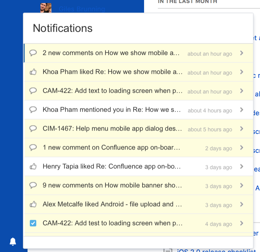 Notifications drawer lists notifications