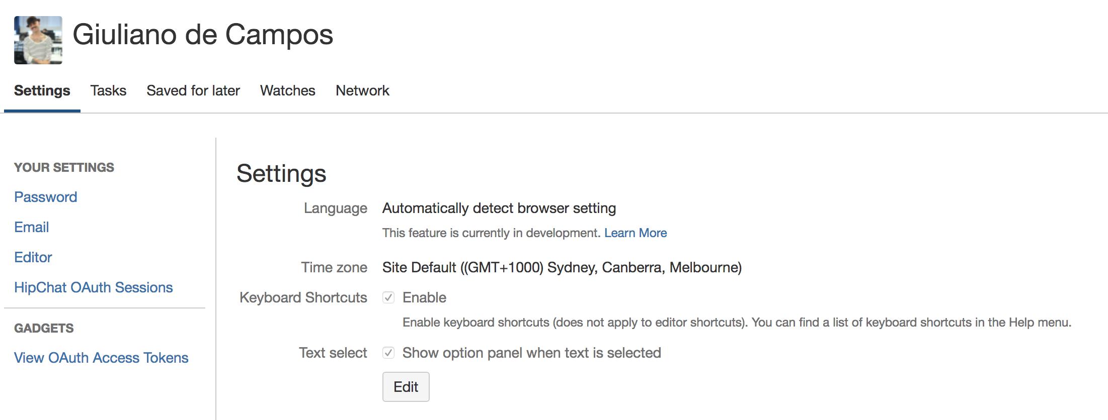 edit your user settings atlassian documentation