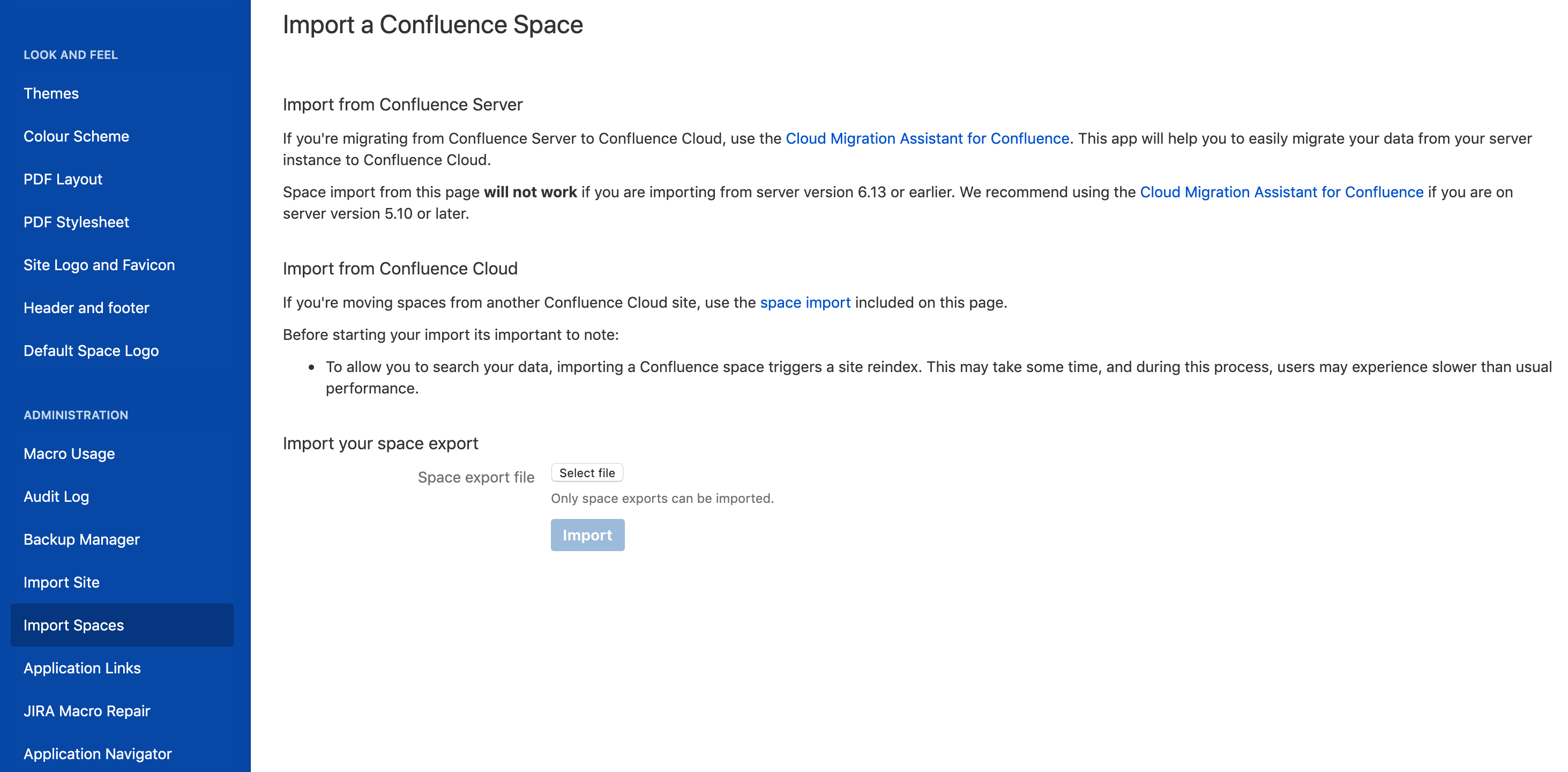 Import a Confluence Space - Atlassian Documentation