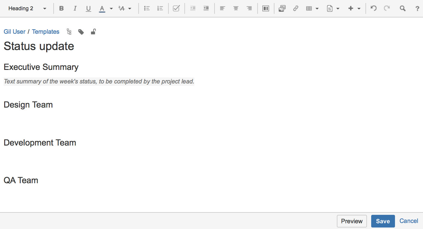 confluence template instructional text