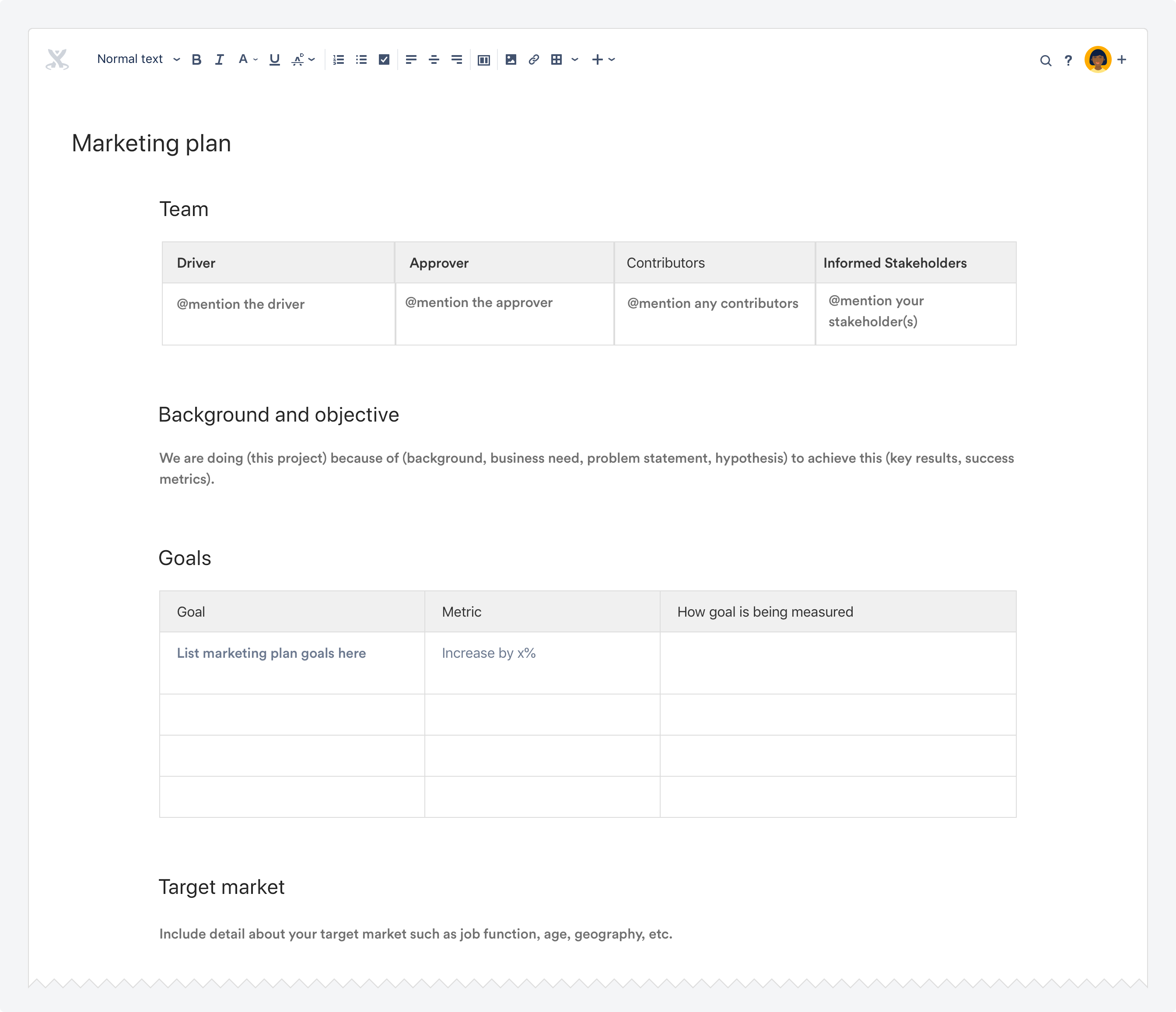 marketing plan template atlassian documentation