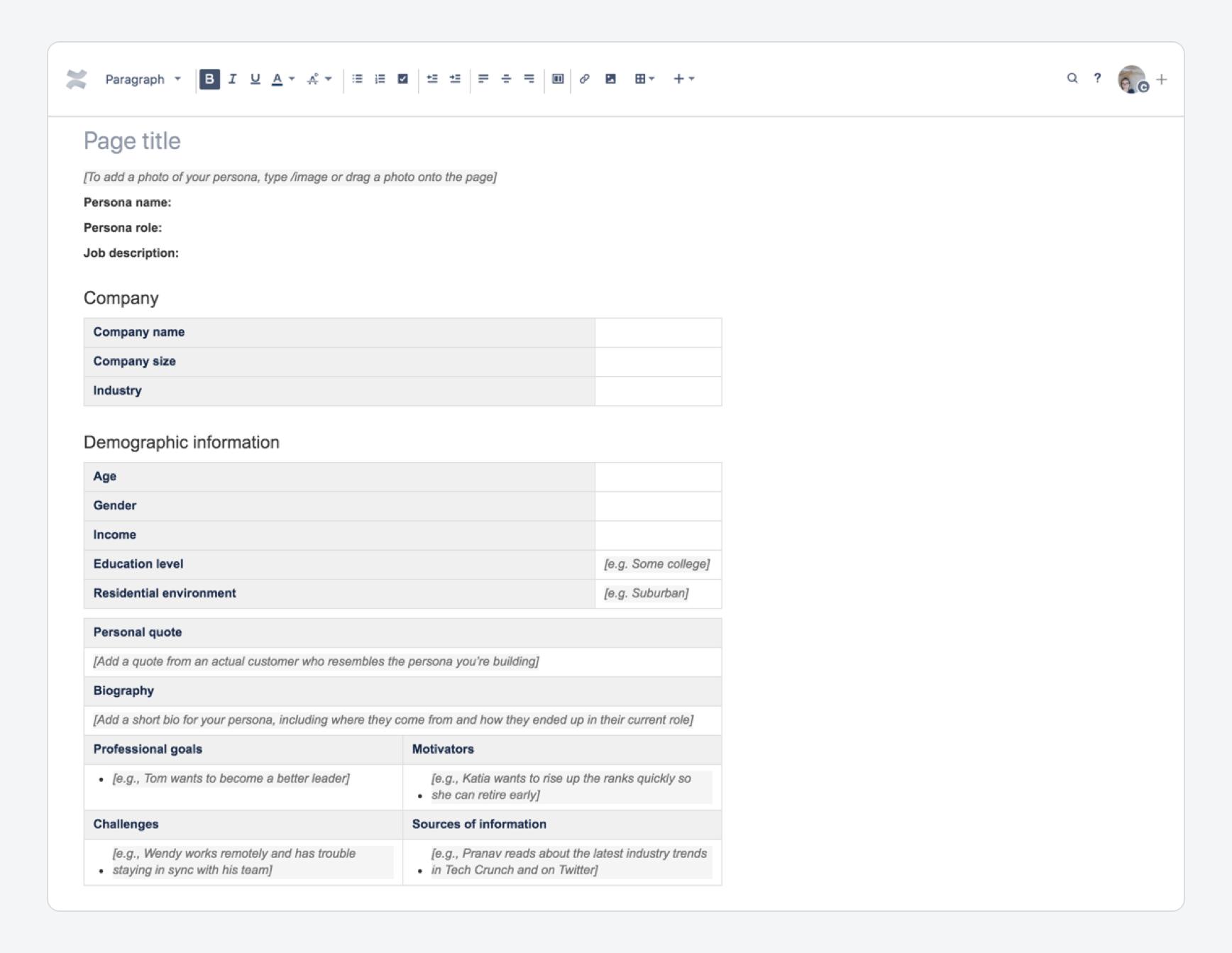 Persona Template Atlassian Documentation