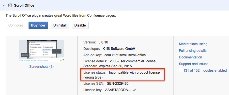 Incompatible with product license' message in Universal Plugin
