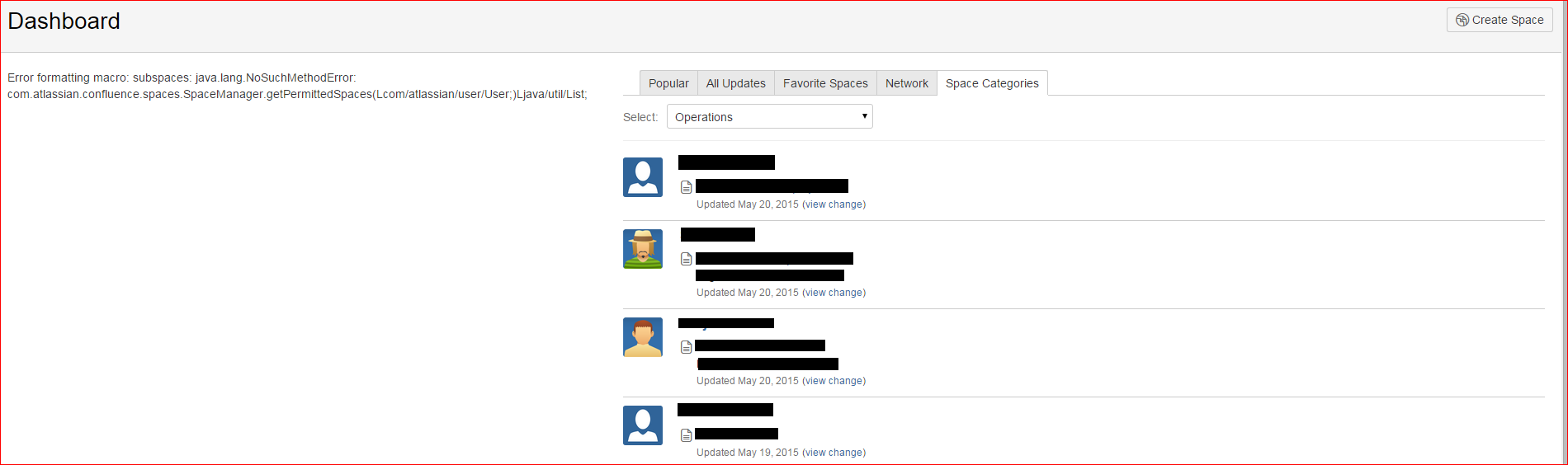 Left Side of the Dashboard Page has error: \