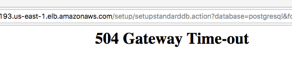 504 Gateway timeout when setting up Confluence Data Center