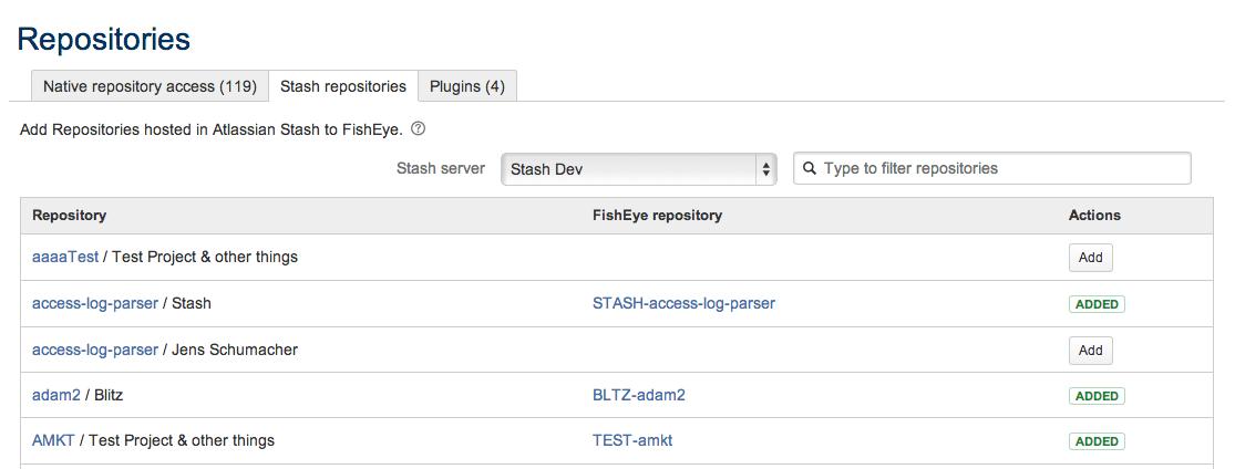 Atlassian Crucible import Stash git repositories