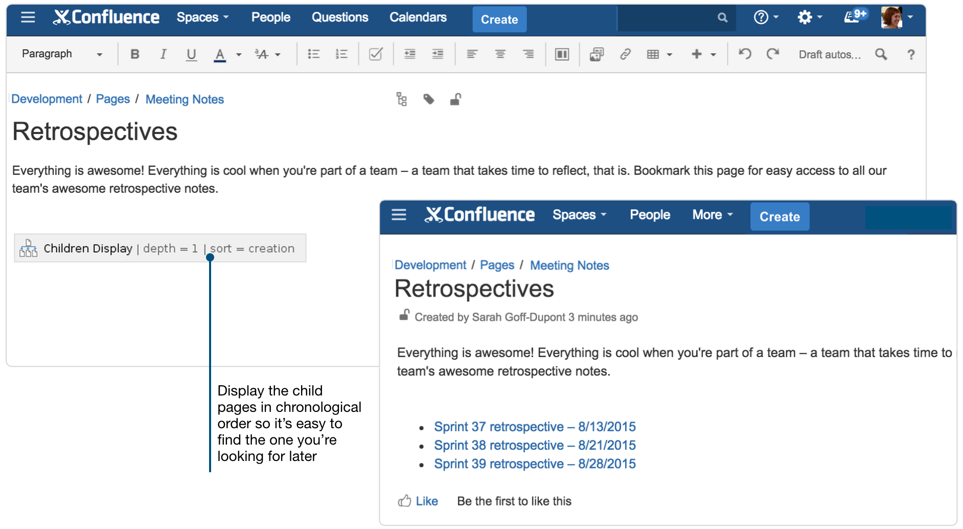 Create sprint retrospective and demo pages like a boss for Confluence blog template