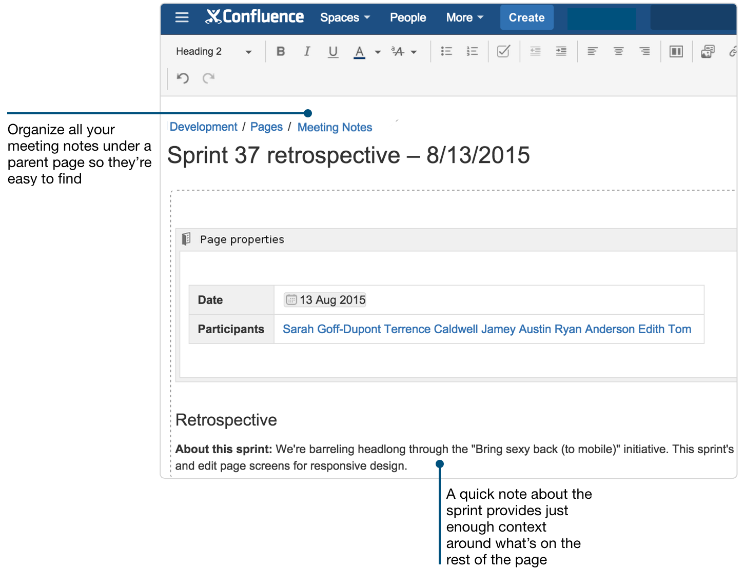 create sprint retrospective and demo pages (like a boss) - atlassian