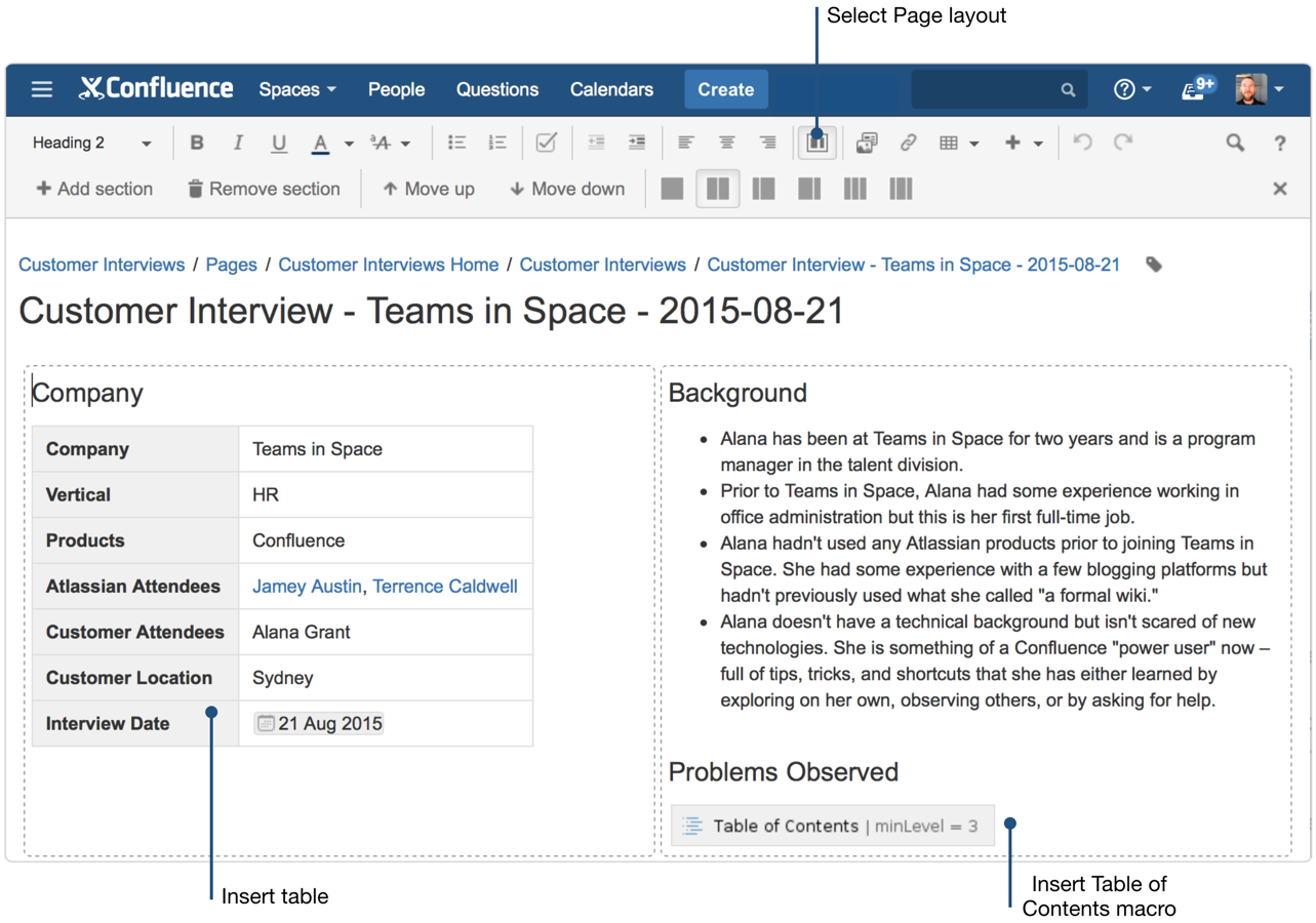 Creating insightful customer interview pages atlassian for Confluence blog template