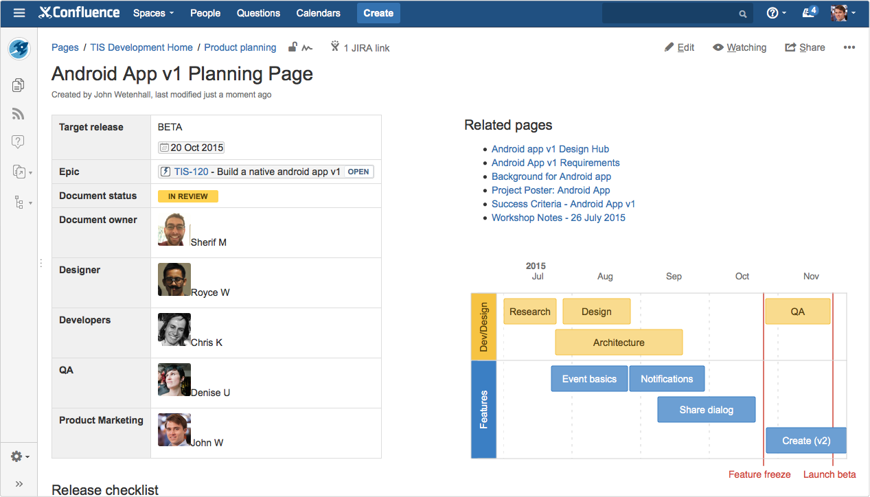 How to build a release planning page in confluence for Confluence create page template