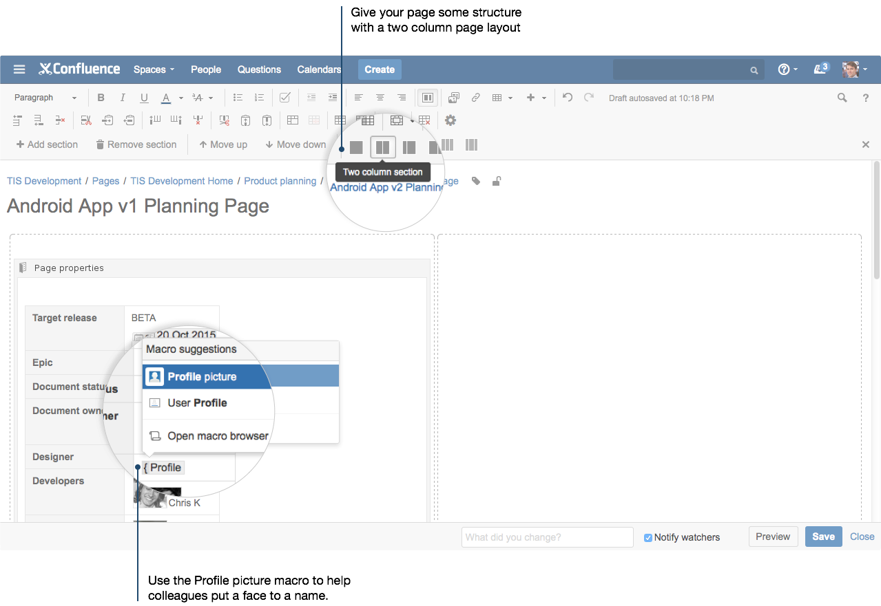 How to build a release planning page in Confluence