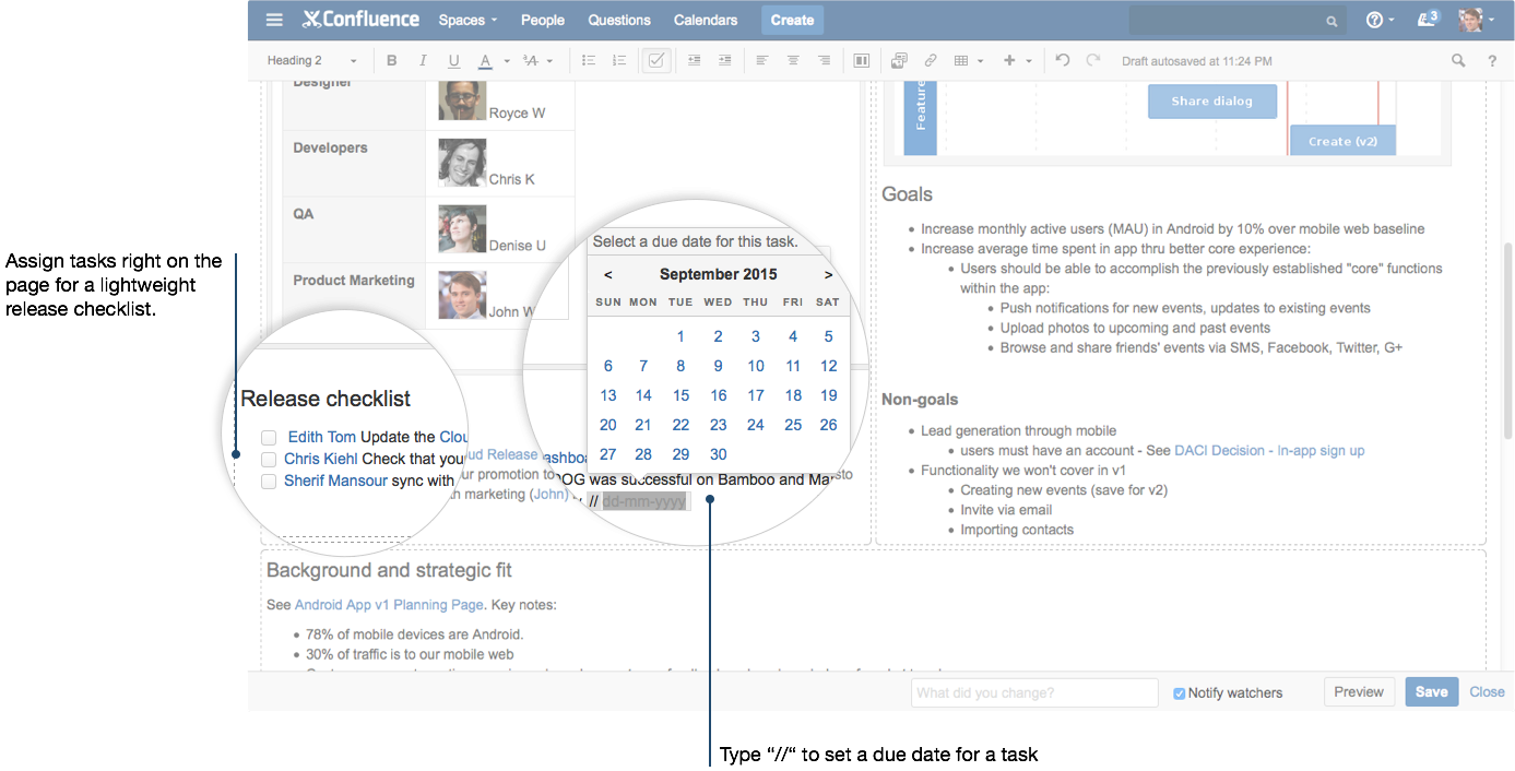 How To Build A Release Planning Page In Confluence Atlassian The Little Ones Due Date Using Dynamic Diagram You Can Assign Tasks With An Mention And Add By Typing This Lightweight Task List Makes Sure We Dont Forget Any Of Things