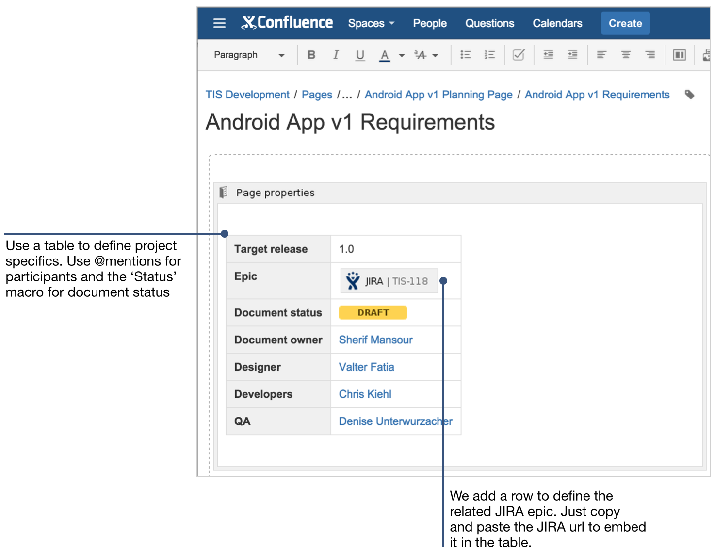 How to document product requirements in confluence for Confluence create page template
