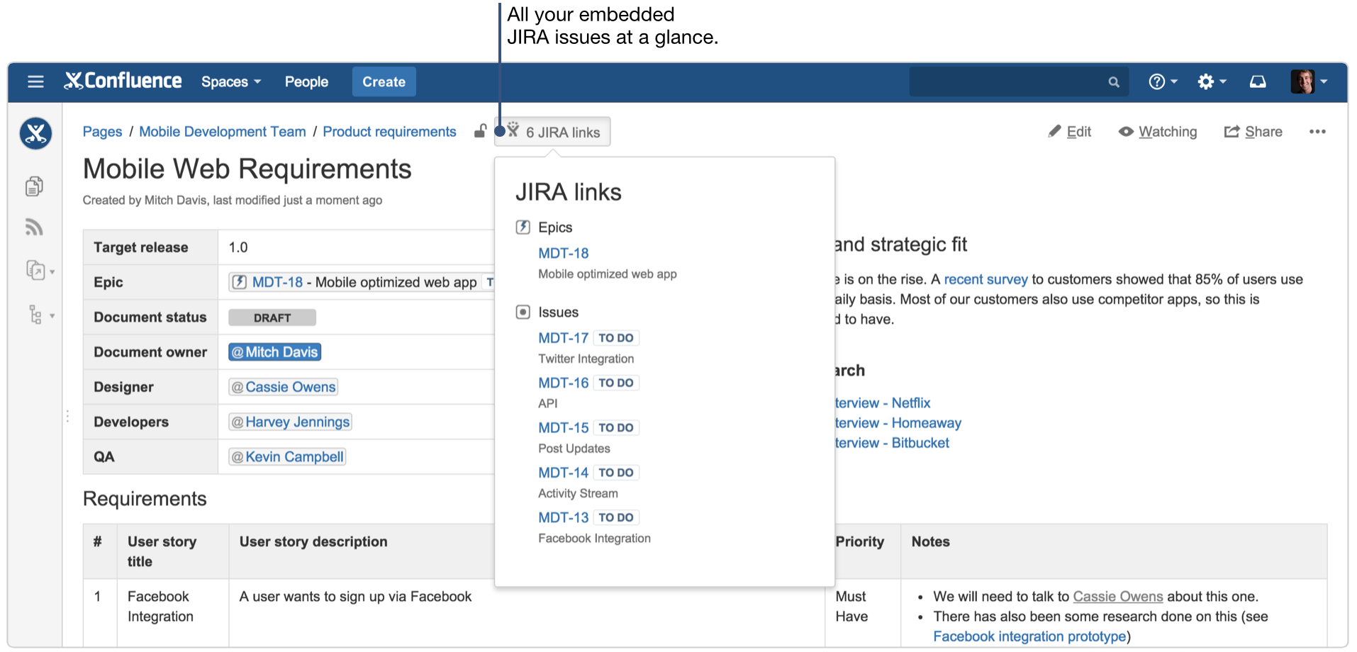 How to document product requirements in confluence atlassian trace requirements to jira issues malvernweather Choice Image
