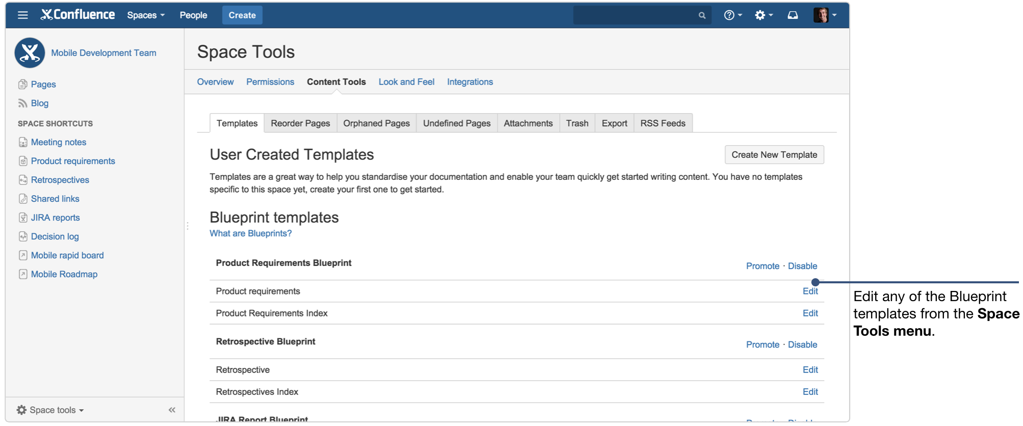 How to document product requirements in confluence atlassian if youre a site admin you can also edit the global template to customzie it company wide malvernweather Images