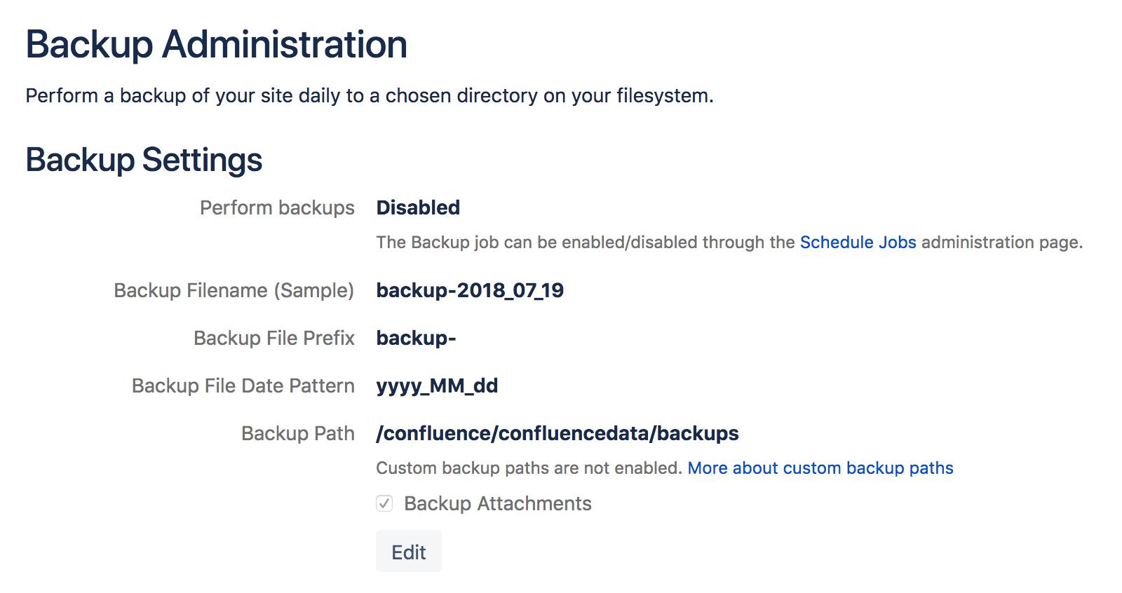 Configuring Backups - Atlassian Documentation