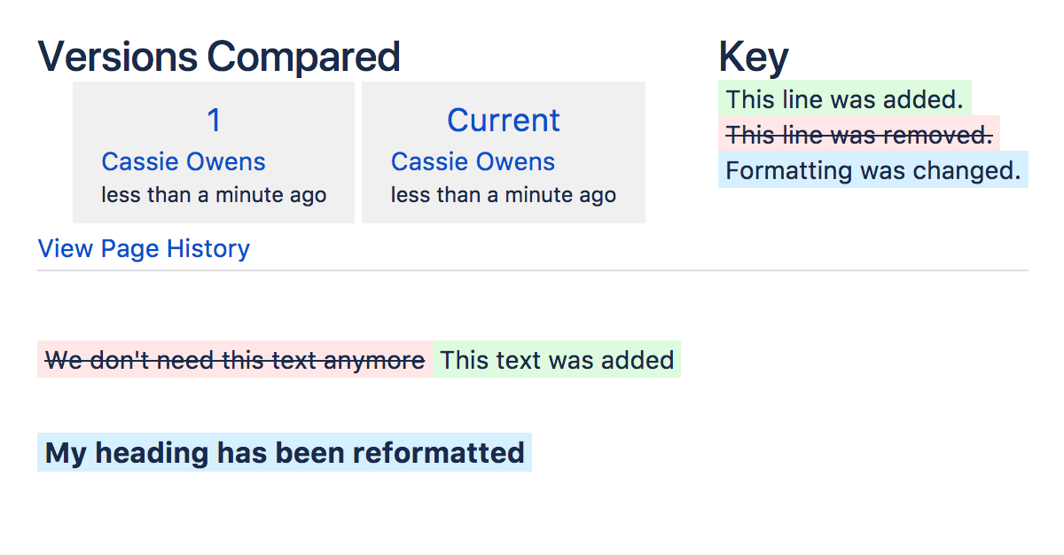 Page History and Page Comparison Views - Atlassian Documentation