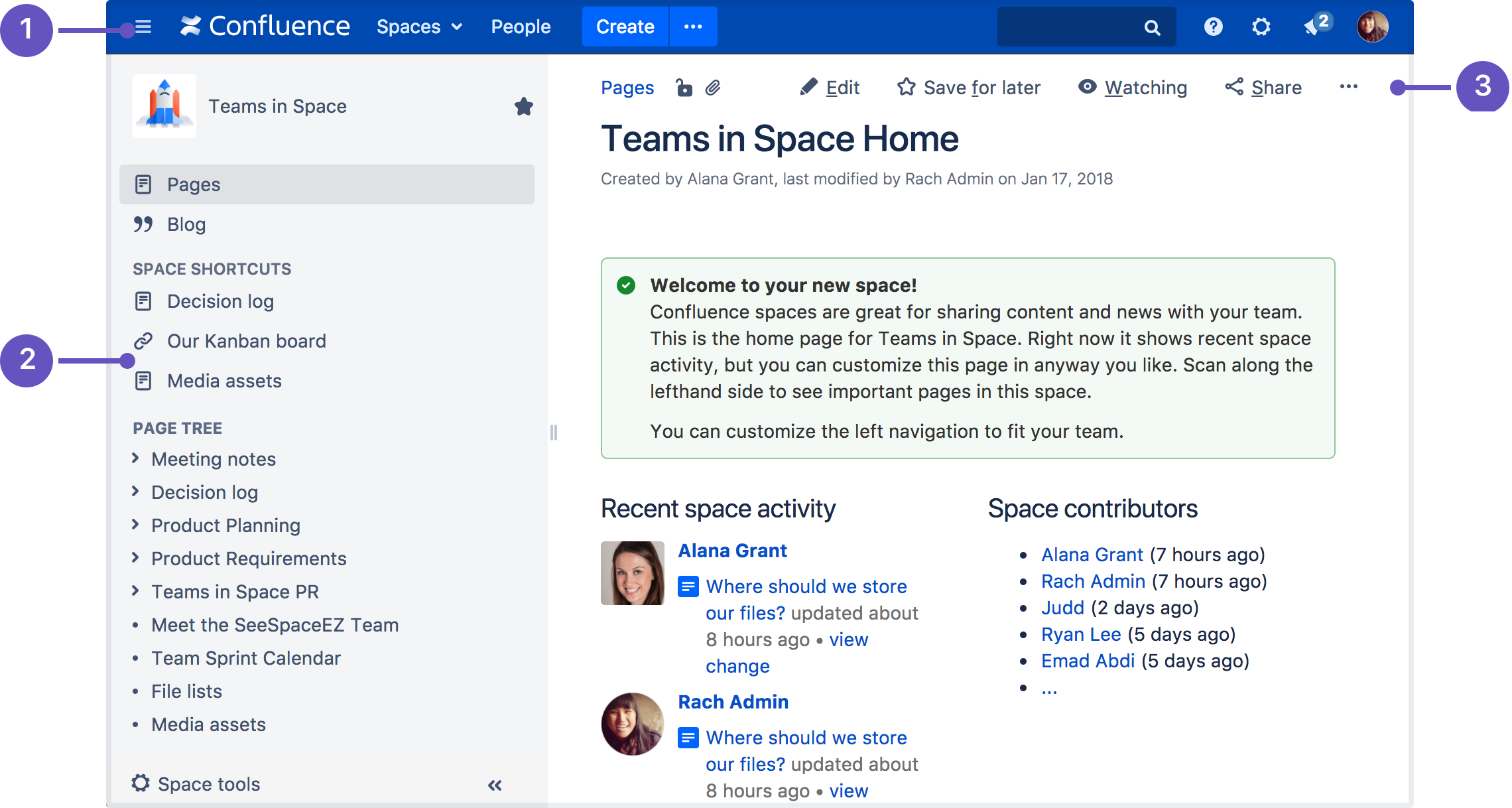 Confluence Header: Create Blank Pages, Pages From Templates And Visit  Spaces Or Your Profile