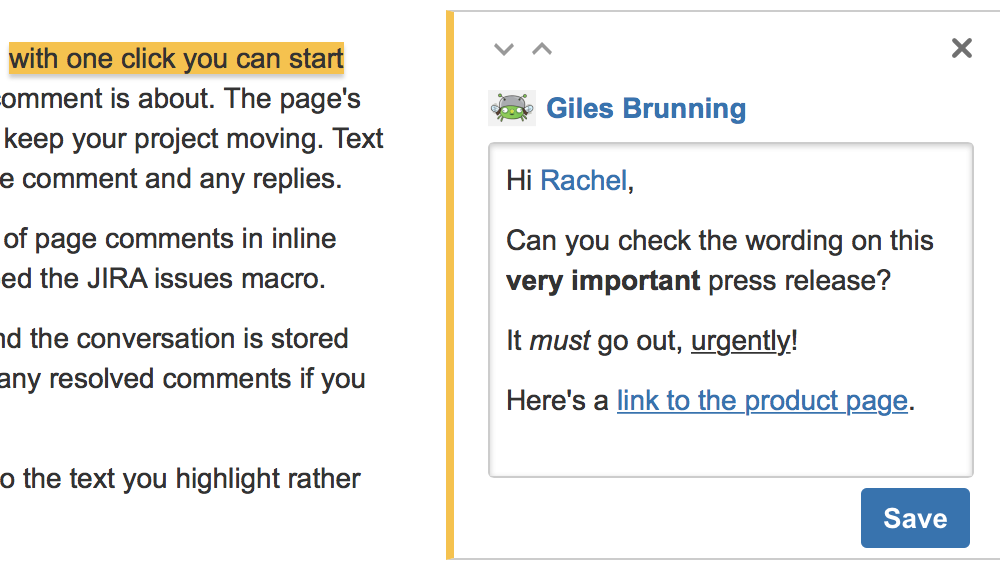 47b7f8c6e8e4 Comment on pages and blog posts - Atlassian Documentation