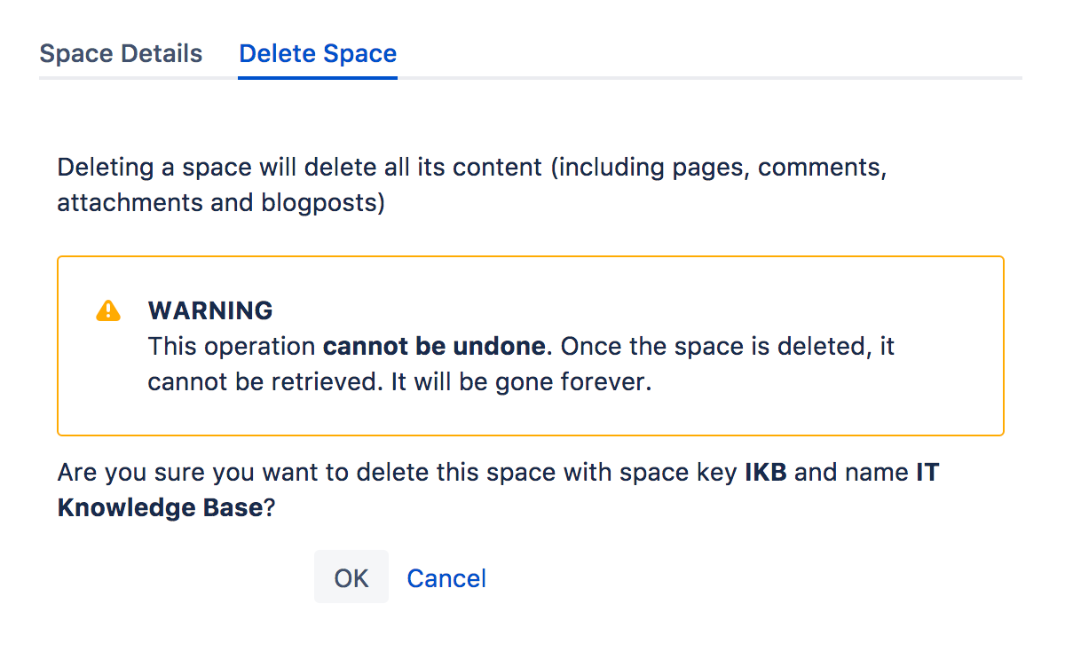 Confluence delete a space