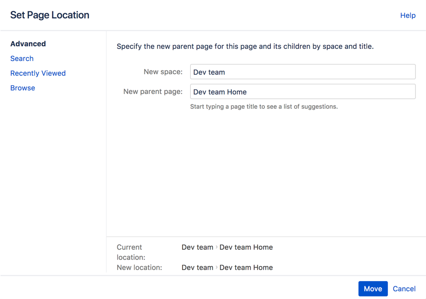 Move and Reorder Pages - Atlassian Documentation