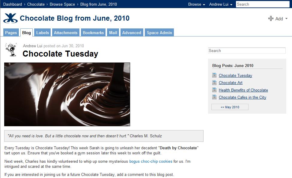 Post on blog