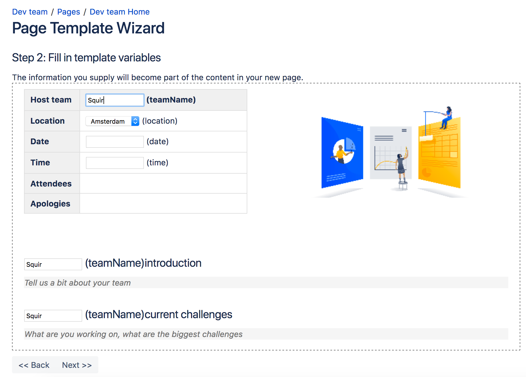 Create a template atlassian documentation for Confluence create page template