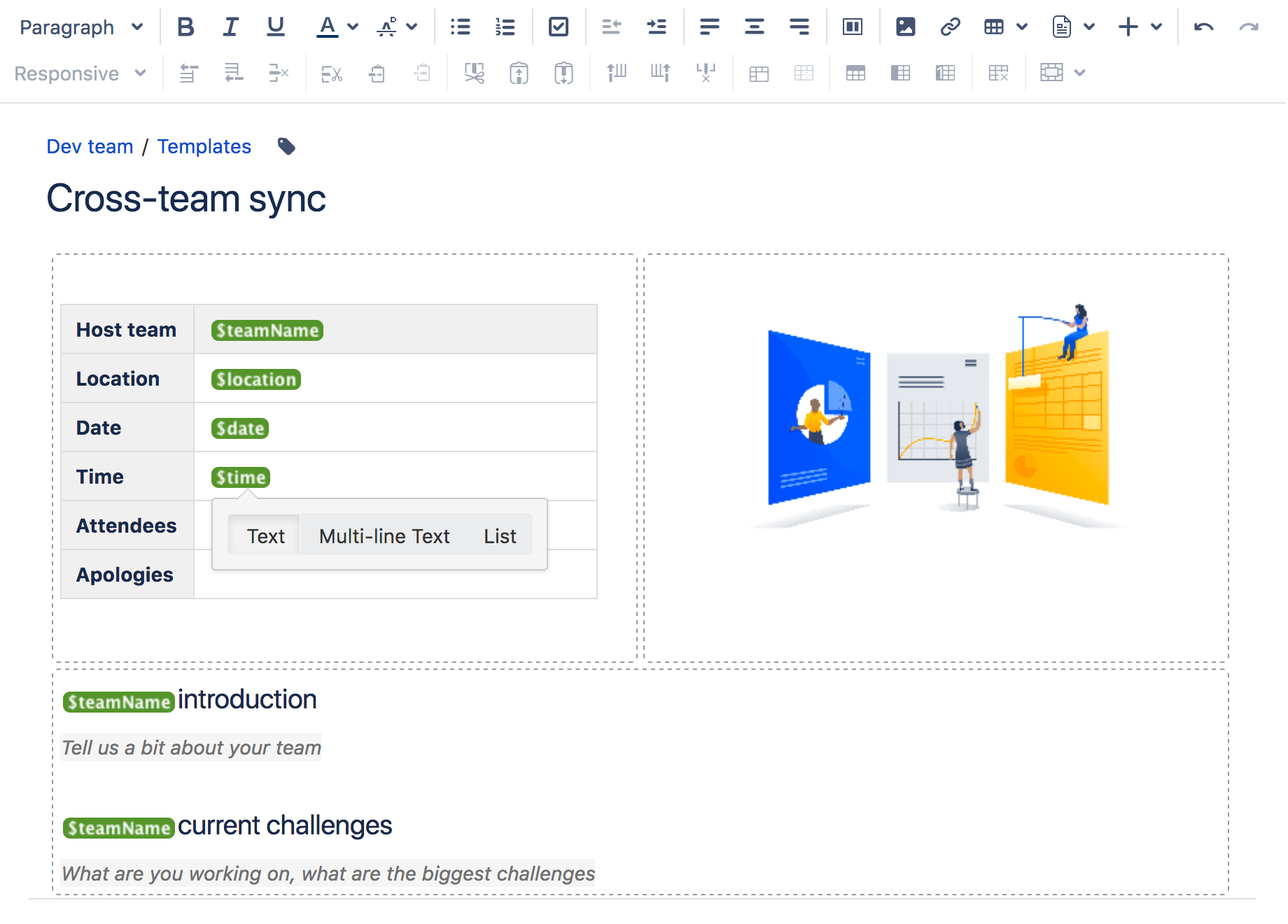 create a template atlassian documentation screenshot the form displayed when you create a page based on the template