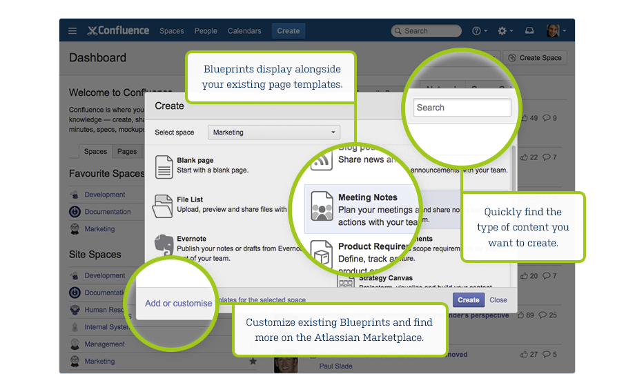 Confluence 51 release notes atlassian documentation introducing blueprints malvernweather Images