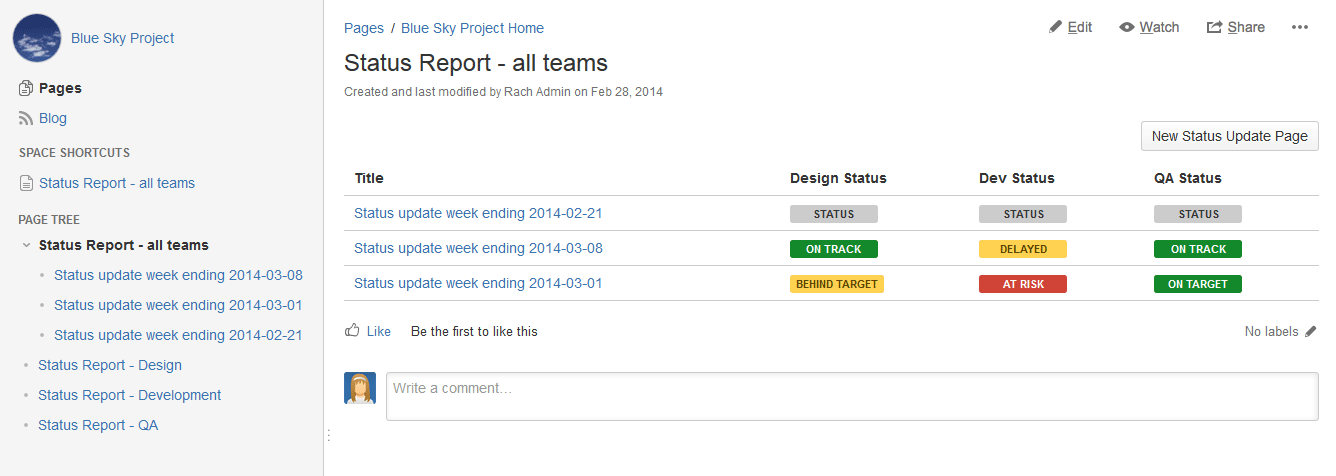Weekly Status Update Template from confluence.atlassian.com