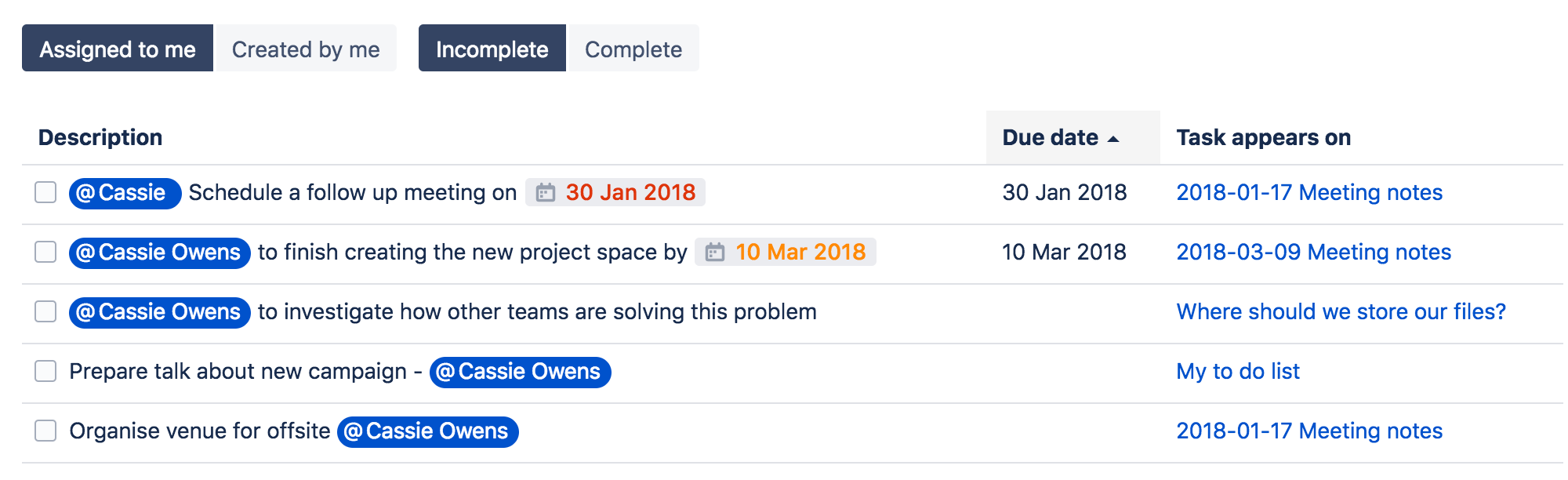 Add, Assign, and View Tasks - Atlassian Documentation