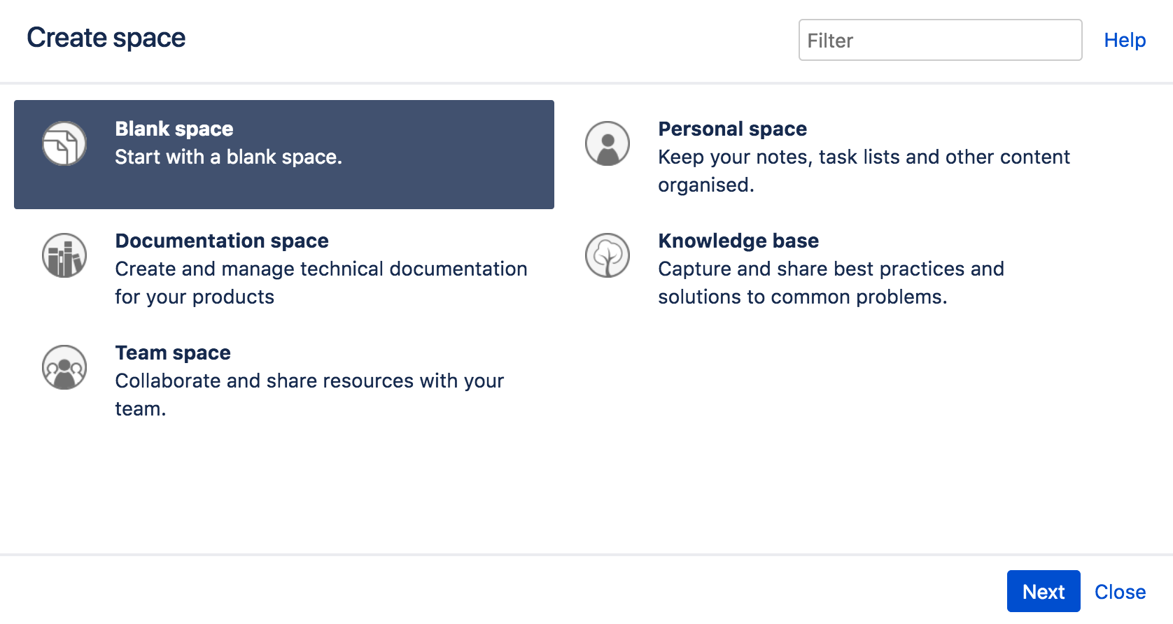 Create a space from a template atlassian documentation for Confluence create page template