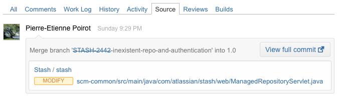 Stash source tab