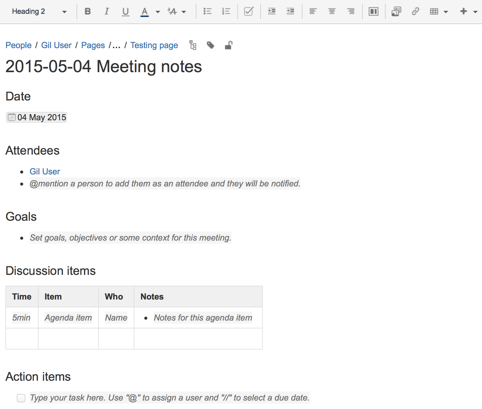 notes of meeting format