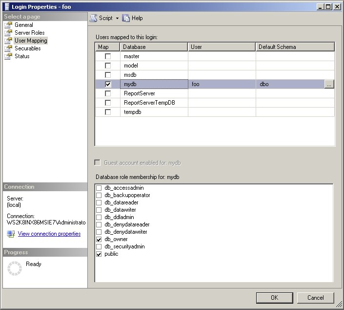 sql how to add user permission to duplicated database