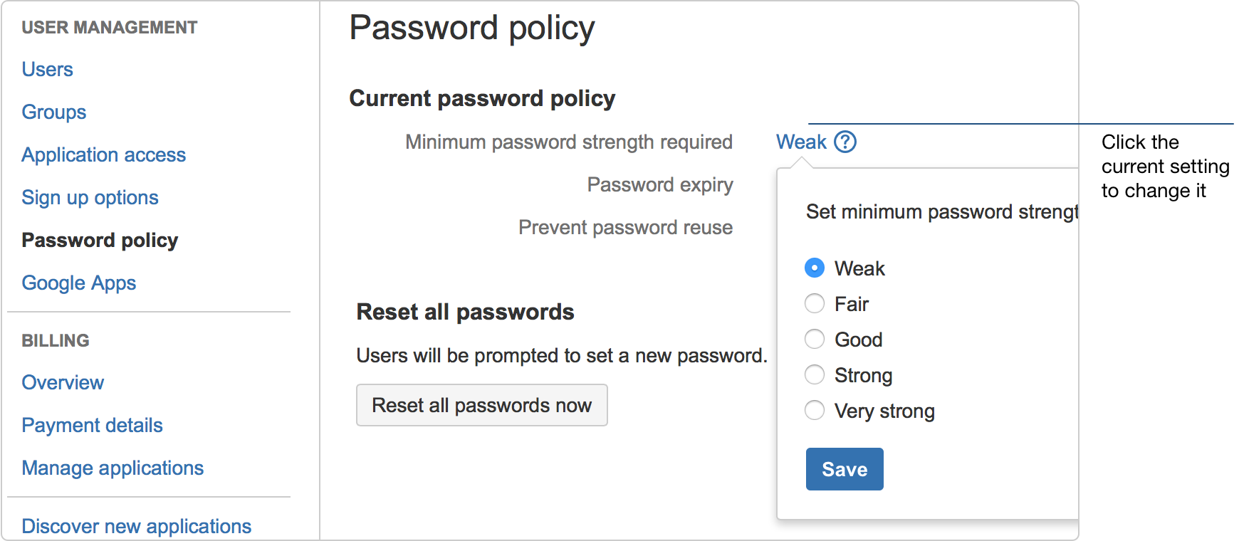 password strength policy