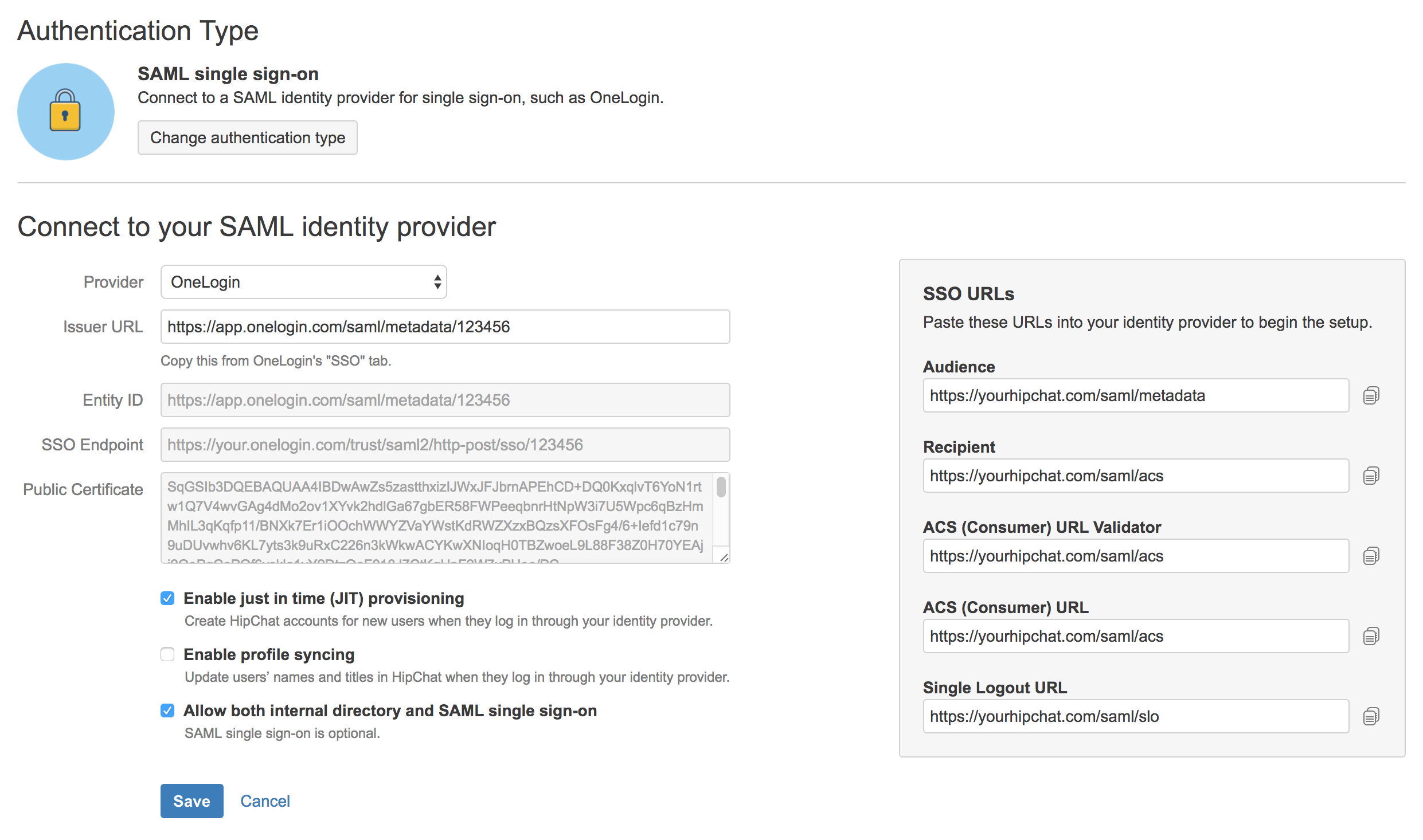 Connect to a SAML identity provider for single sign-on - Atlassian