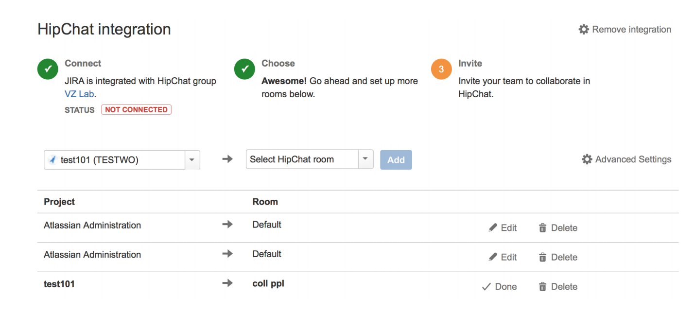 Connection Status Of Hipchat Integration With Atlassian