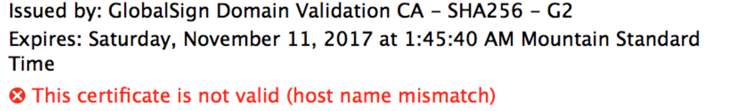 The certificate is not valid (host name mismatch) error when trying ...