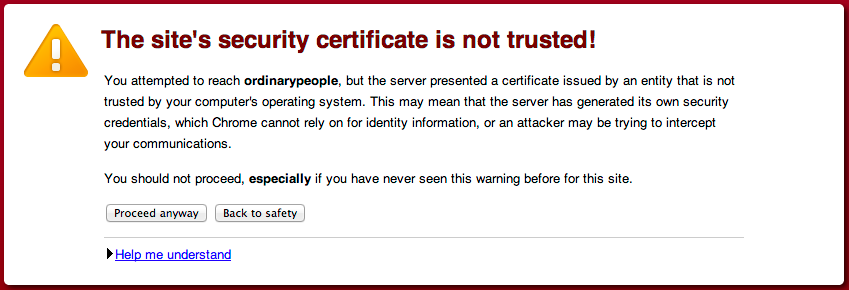 Connecting to ssl services atlassian documentation in chrome when visiting a page thats encrypted with a self signed certificate except java cant proceed anyway it just refuses the certificate yelopaper Choice Image