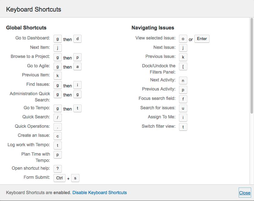 Using Keyboard Shortcuts Atlassian Documentation