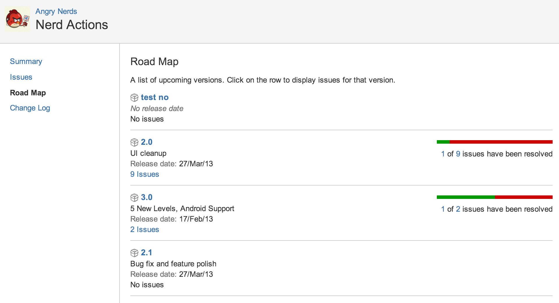 Browsing a Componentamp39s Road Map  Atlassian Documentation