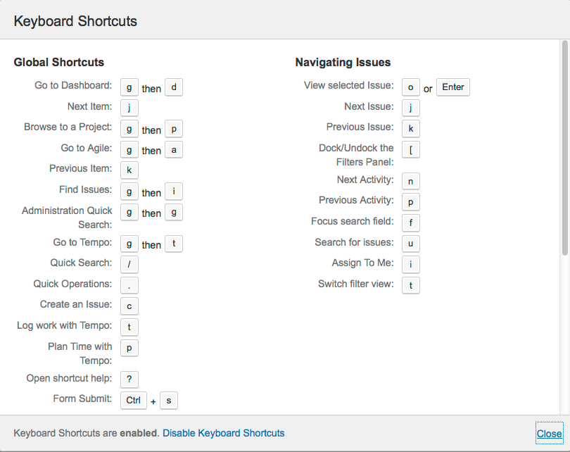 Using Keyboard Shortcuts - Atlassian Documentation