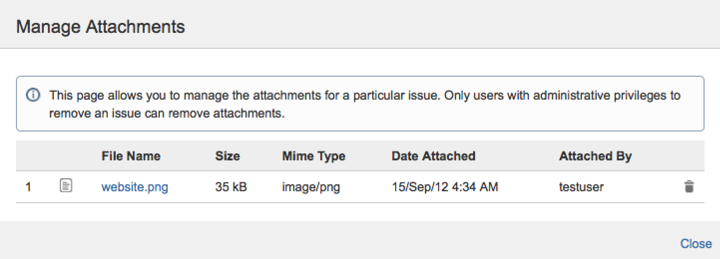 note only users with the appropriate delete issues project permissions can remove attachments