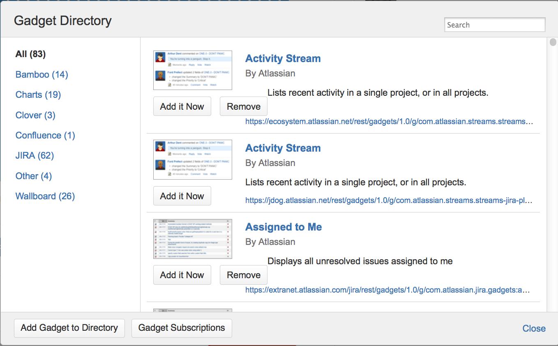 customizing the dashboard atlassian documentation