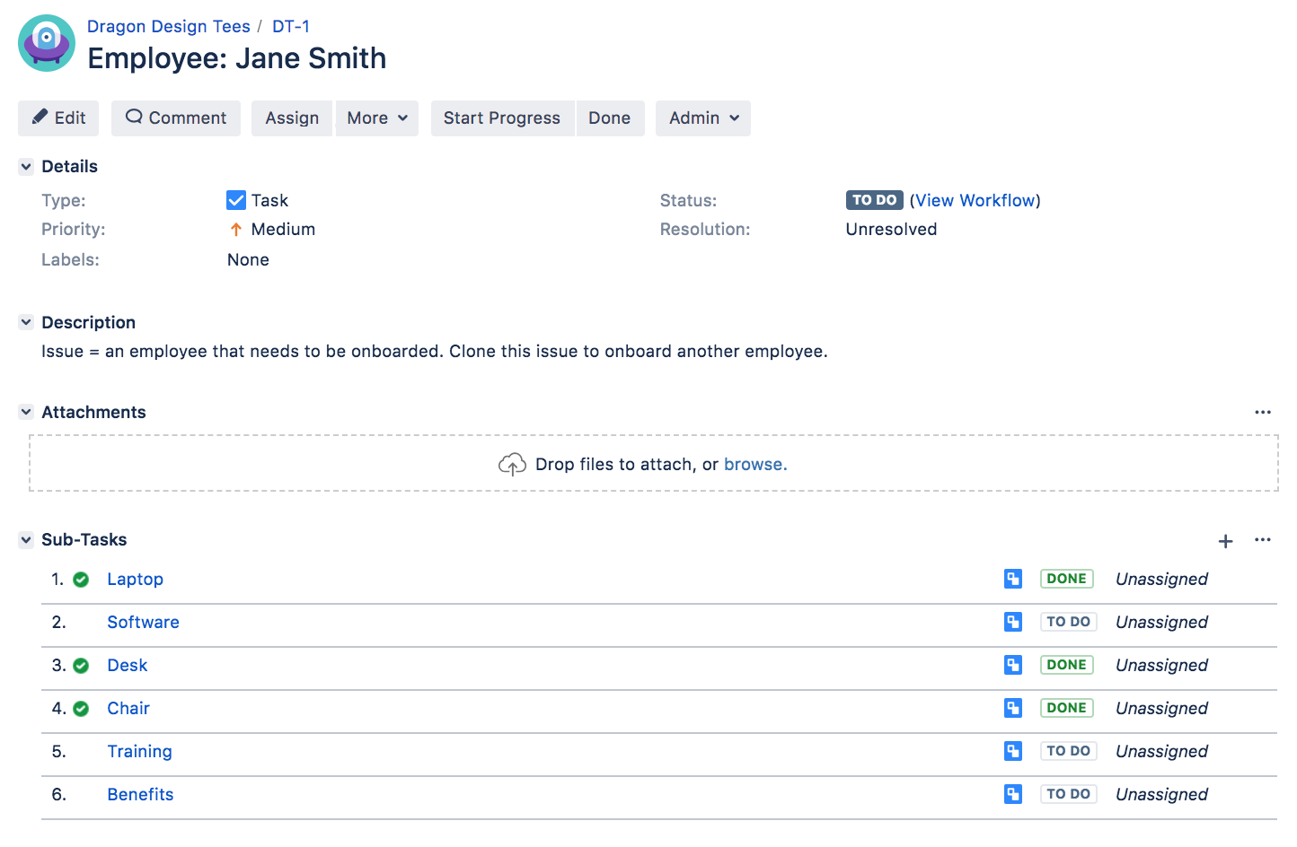 従業員 Jane Smith のタスク。追加のサブタスクが含まれています。