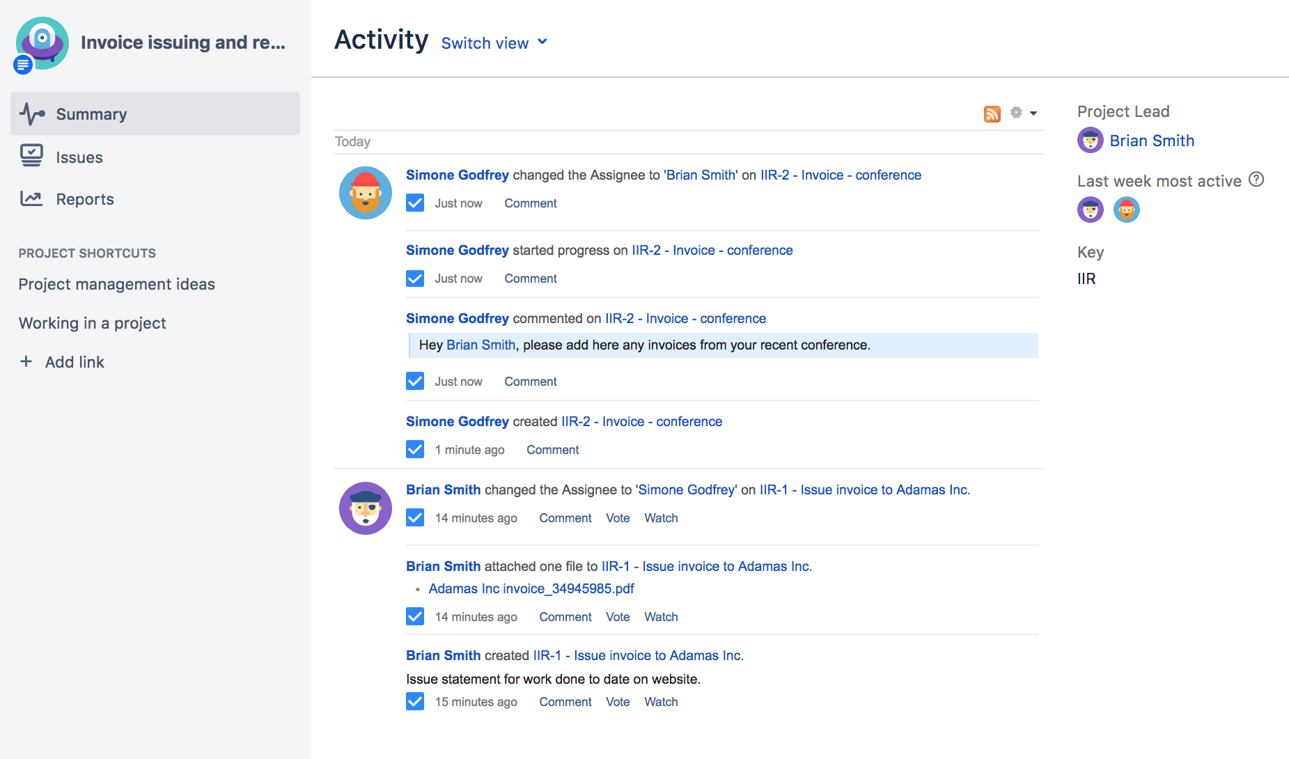 Activity stream in a project