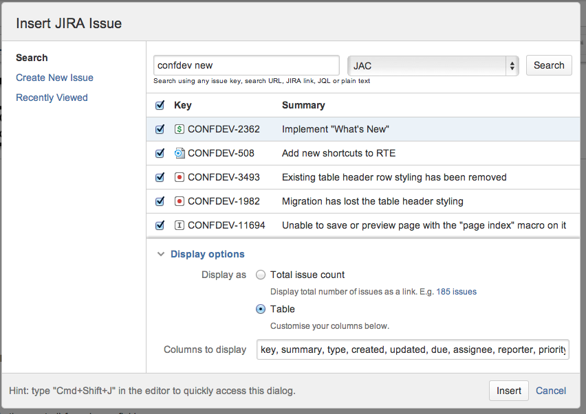 Insert Jira issue macro in Confluence.