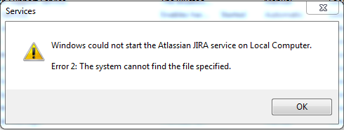 JIRA 5.2 Service cannot be started with a Error 2: The system cannot