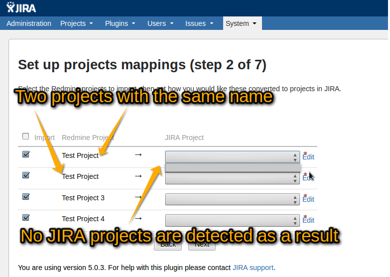 Multiple Redmine projects with the same name will lead to